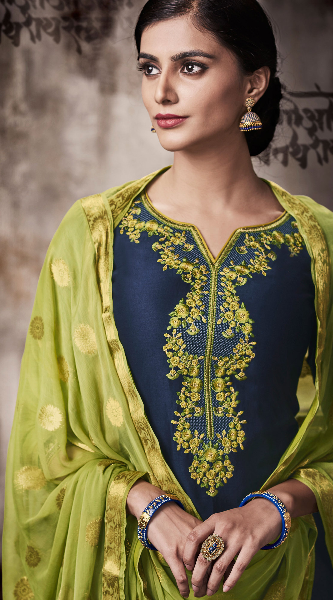 Blooming Blue Colored Embroidered Work Party Wear Silk Cotton Patiala Suit