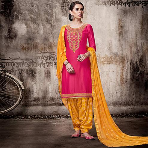 Ravishing Pink Colored Embroidered Work Party Wear Silk Cotton Patiala Suit