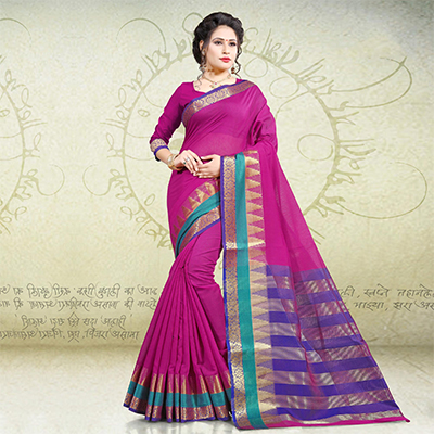 Gorgeous Pink Colored Festive Wear Woven Cotton Saree
