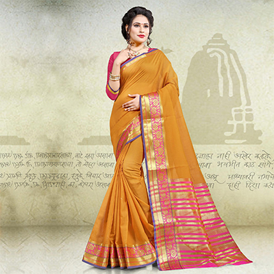 Traditional Yellow Colored Festive Wear Woven Cotton Saree
