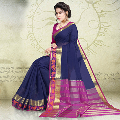 Beautiful Navy Blue Colored Festive Wear Woven Cotton Saree