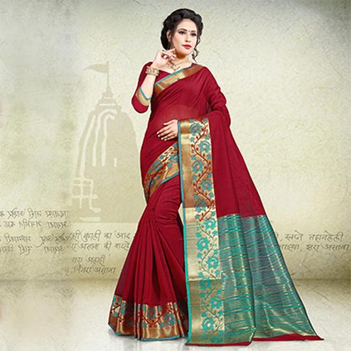 Mesmerising Maroon Festive Wear Woven Cotton Saree