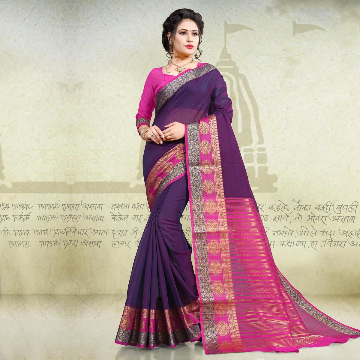 Perfect Purple Colored Festive Wear Woven Cotton Saree