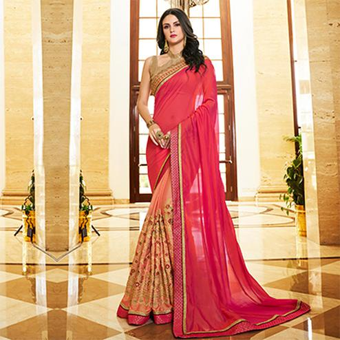 Intricate Pink - Peach Colored Designer Embroidered Work Half & Half Georgette Saree