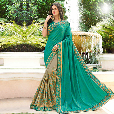 Desirable Turquoise Blue - Grey Colored Designer Embroidered Work Half & Half Jacquard Silk Saree
