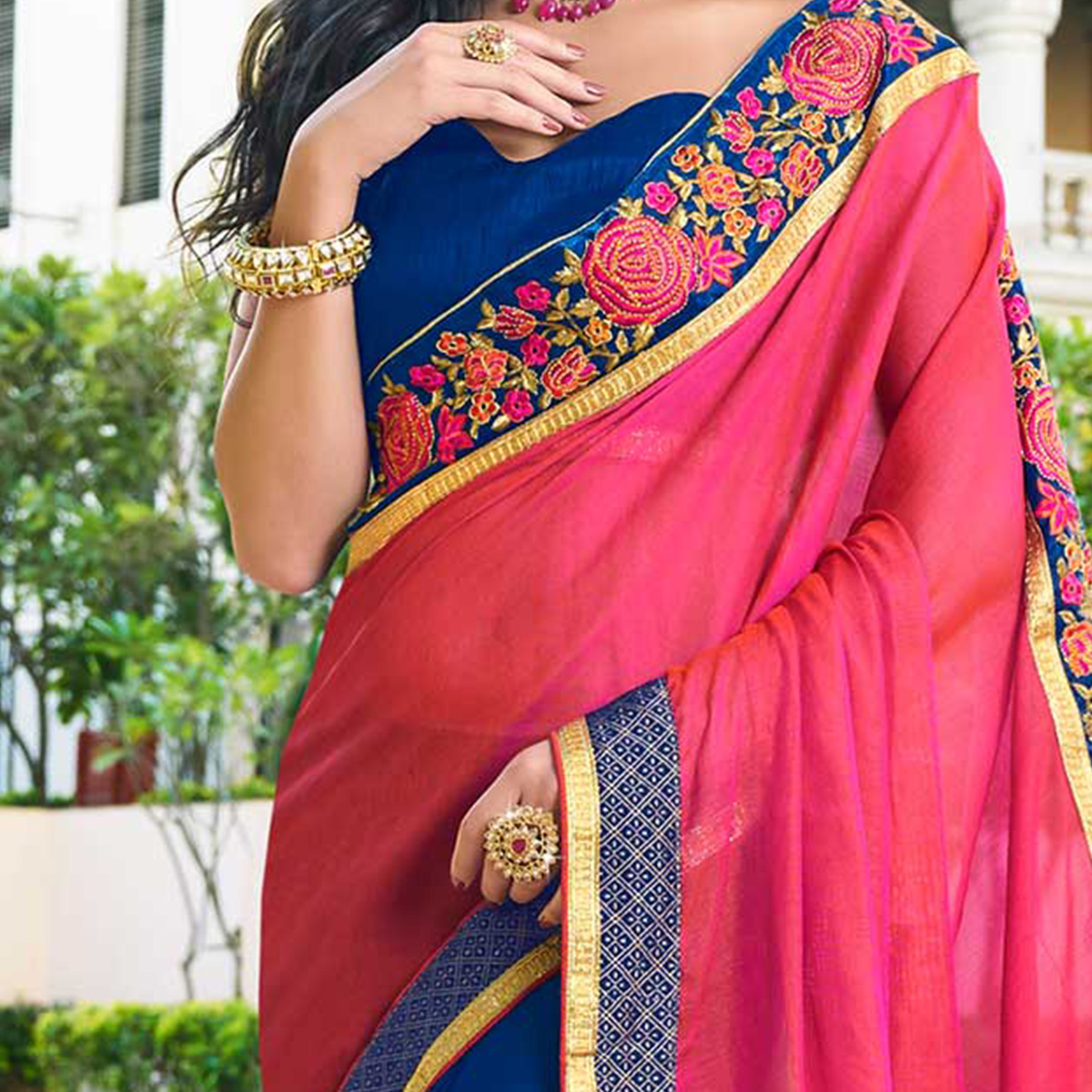 Sophisticated  Pink - Blue Colored Designer Embroidered Work Half & Half Georgette Saree