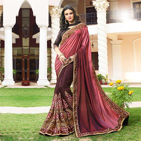 Elegant Pink - Dark Wine Colored Designer Embroidered Work Half & Half Georgette Saree