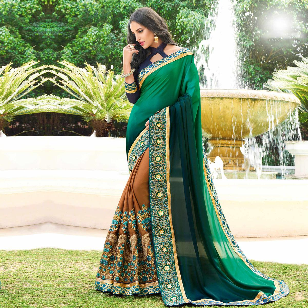 Alluring Green - Light Brown Colored Designer Embroidered Work Half & Half Georgette Saree
