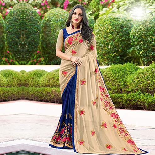 Precious Beige - Blue Colored Designer Embroidered Work Half & Half Georgette Saree