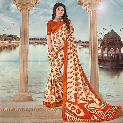 Cream Art Silk Digital Printed Fancy Saree