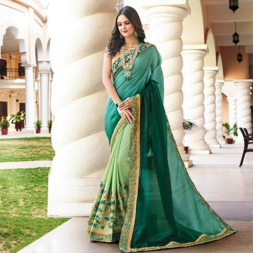 Snazzy Light Blue - Pastel Green Colored Designer Embroidered Work Half & Half Soft Silk Saree