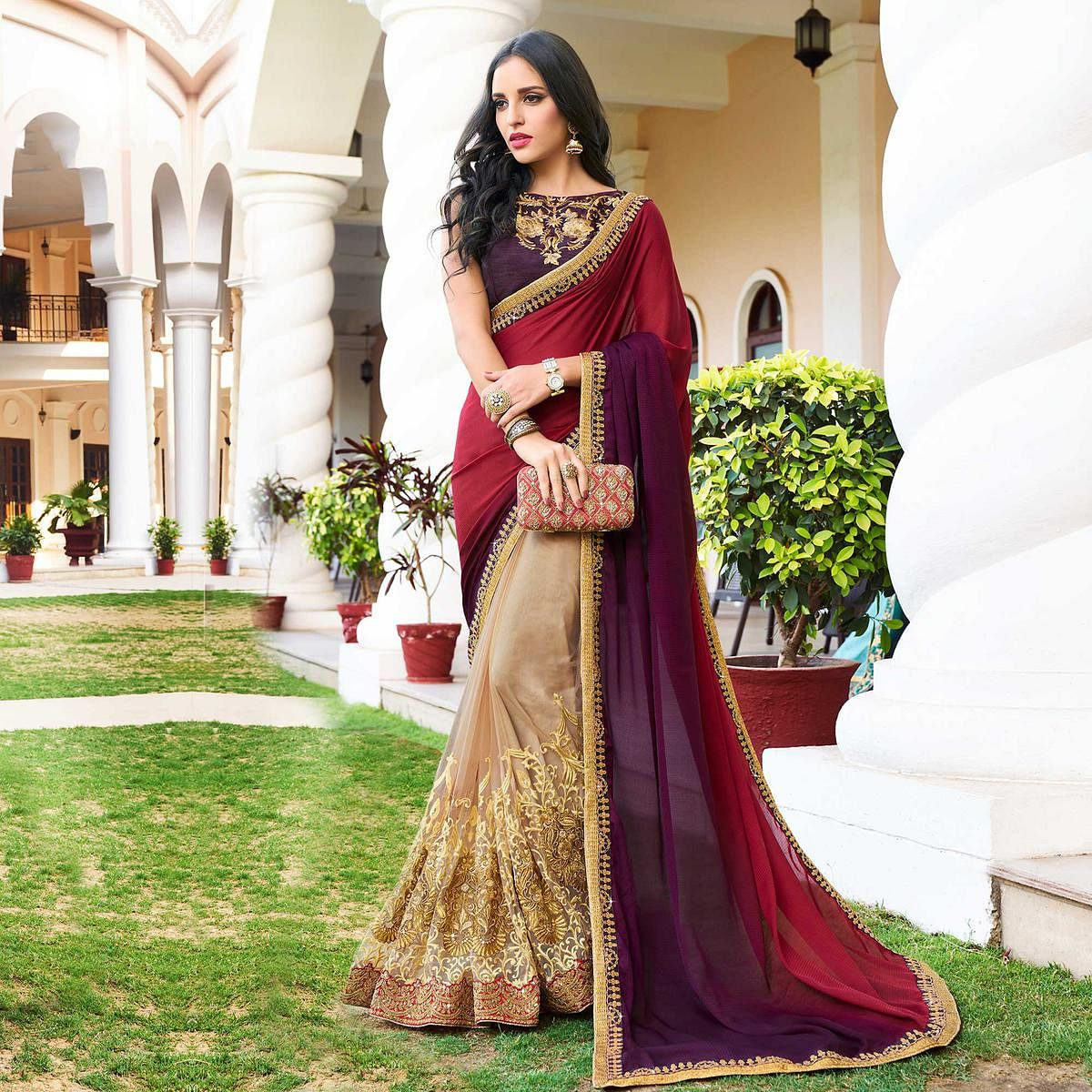Glowing Beige - Maroon Colored Designer Embroidered Work Half & Half Georgette Saree