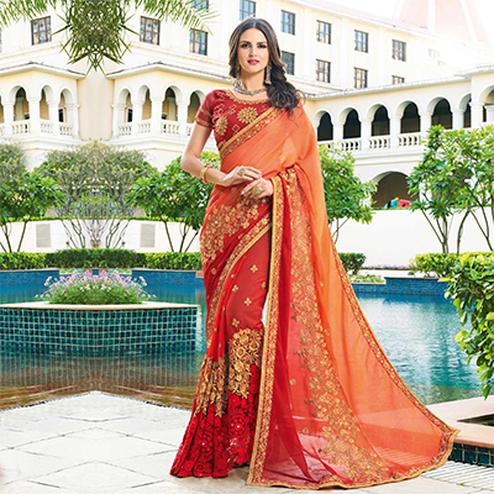 Energetic Orange - Red Colored Designer Embroidered Work Half & Half Georgette Saree