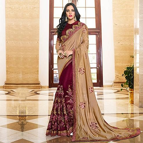 Deserving Beige - Wine Colored Designer Embroidered Work Half & Half Georgette Saree