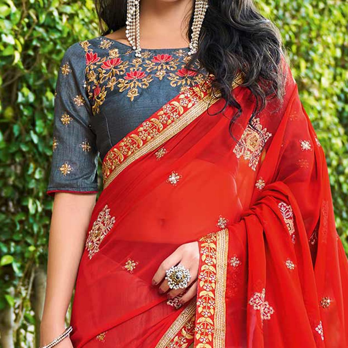 Adorning Red - Grey Colored Designer Embroidered Work Half & Half Georgette Saree