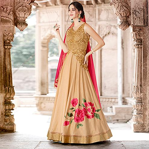Stunning Beige Colored Designer Embroidered Work Party Wear Art Silk Anarkali Suit