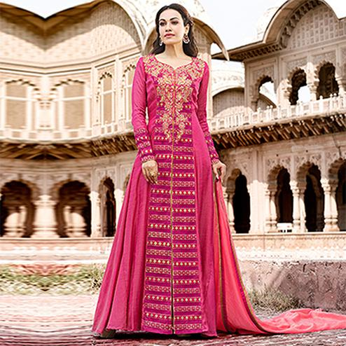 Graceful Magenta Pink Colored Designer Embroidered Work Party Wear satin Anarkali Suit