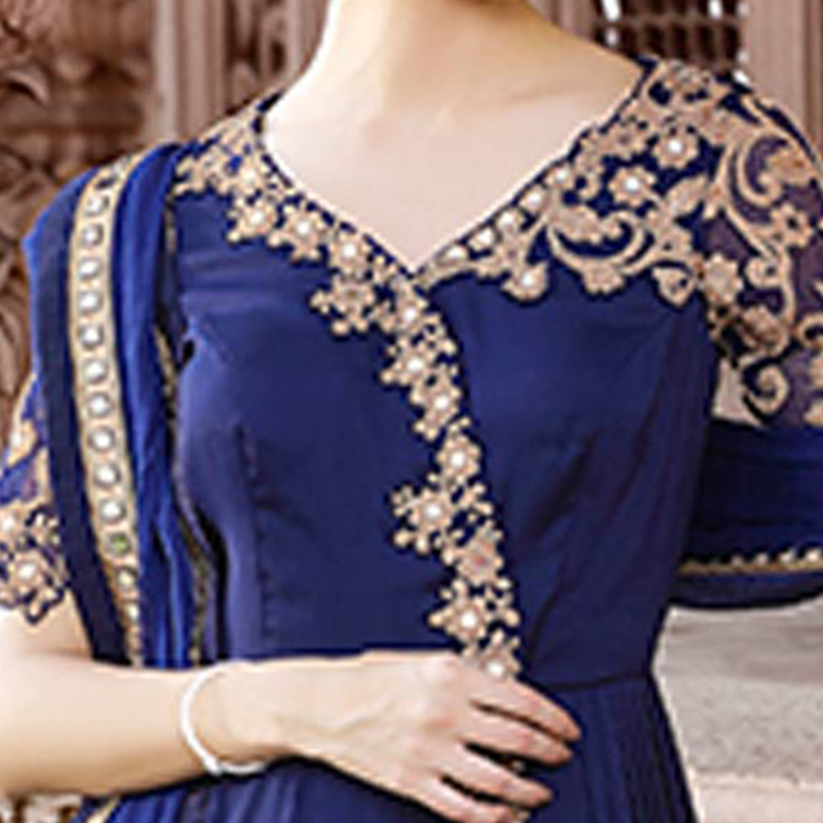 Pretty Royal Blue Colored Designer Embroidered Work Party Wear georgette Anarkali Suit