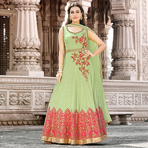 Charming Light Green Colored Designer Embroidered Work Party Wear satin Anarkali Suit