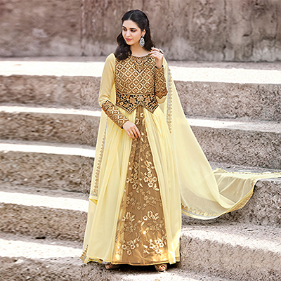 Ravishing Cream Colored Designer Embroidered Work Party Wear georgette Anarkali Suit