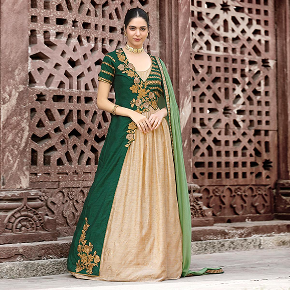 Delightful Beige & Green Colored Designer Embroidered Work Party Wear Art Silk Anarkali Suit