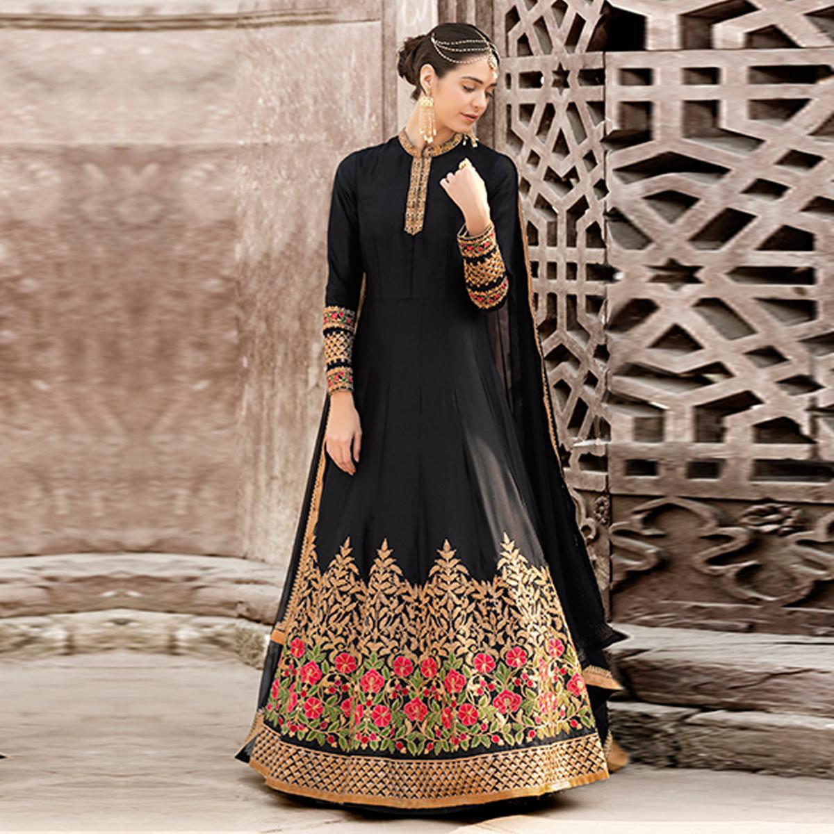 Glorious Black Colored Designer Embroidered Work Party Wear satin Anarkali Suit