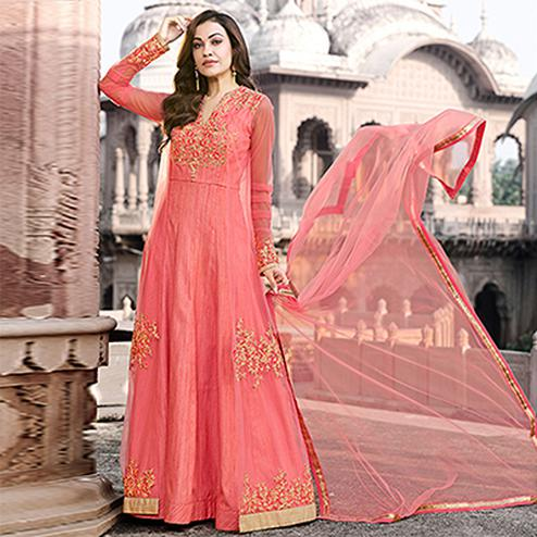 Blooming Pink Colored Designer Embroidered Work Party Wear net Anarkali Suit