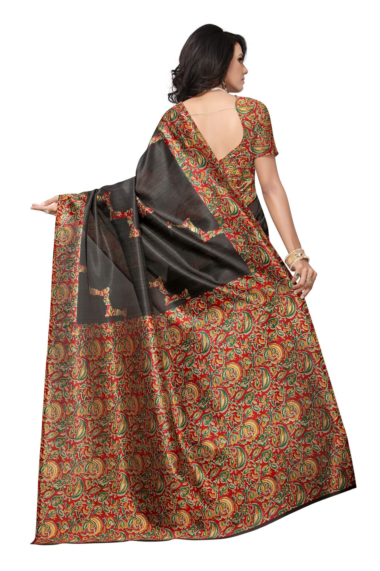 Graceful Black Colored Festive Wear Printed Banglori Silk Saree