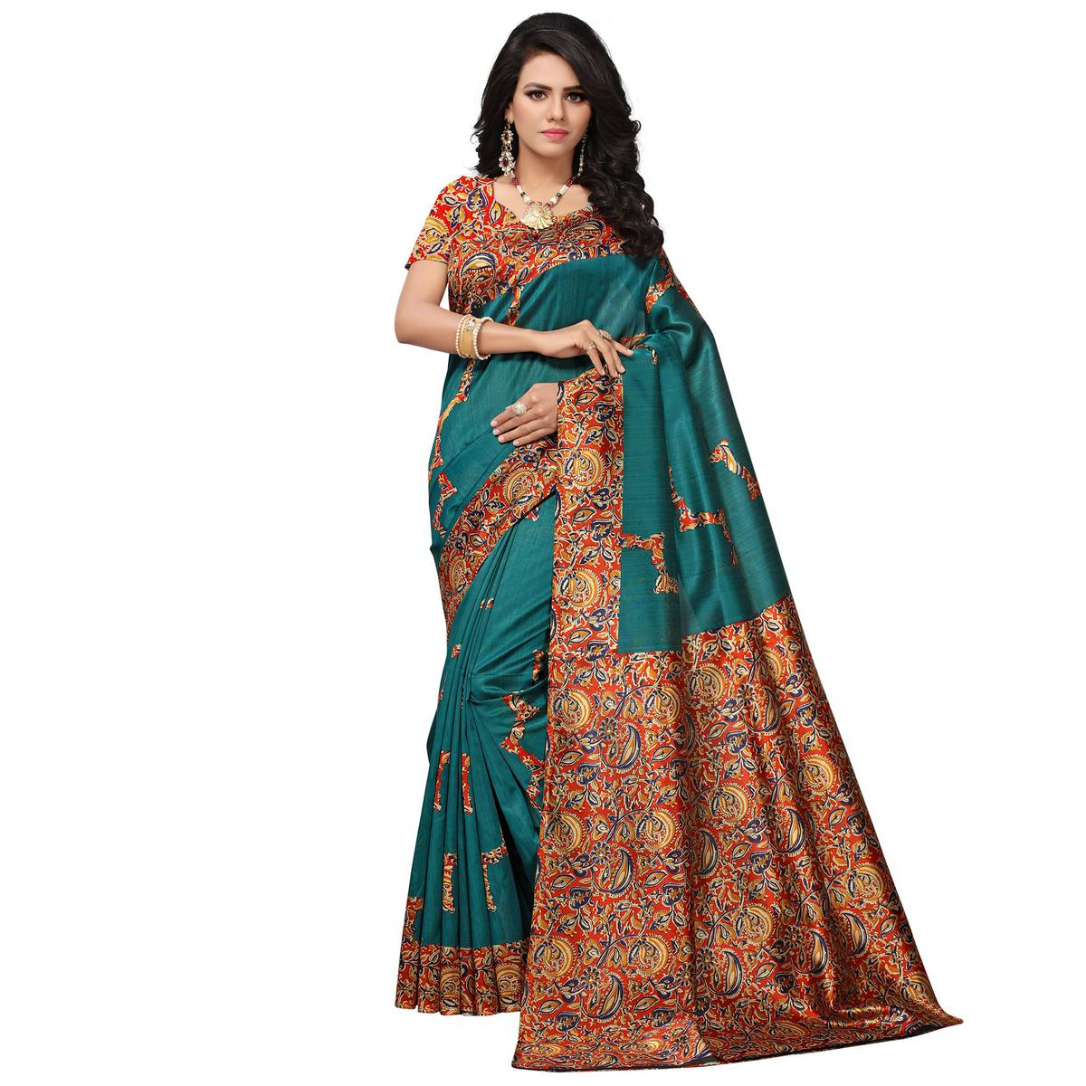 Pretty Blue Colored Festive Wear Printed Banglori Silk Saree