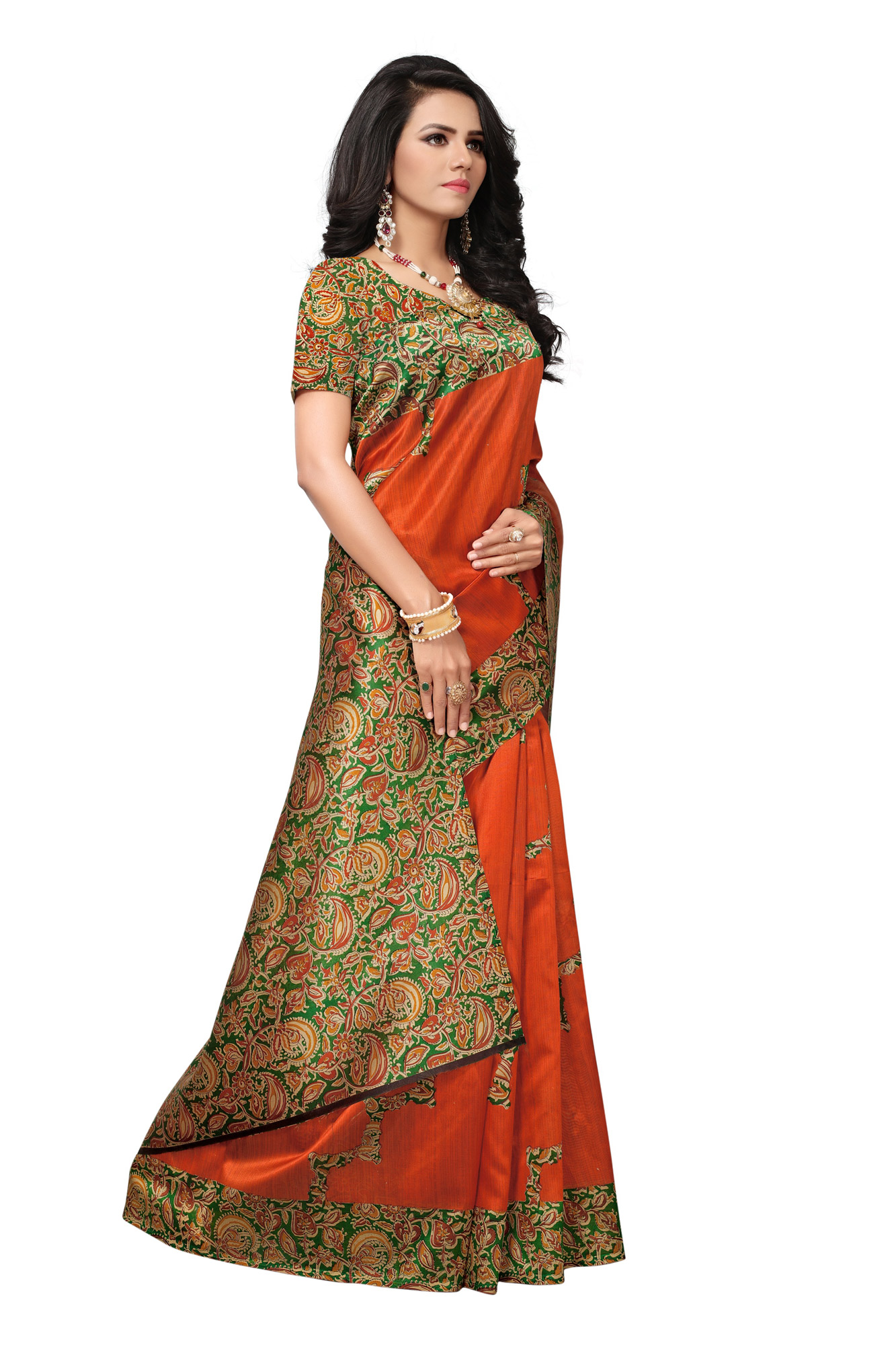 Sensational Orange Colored Festive Wear Printed Banglori Silk Saree