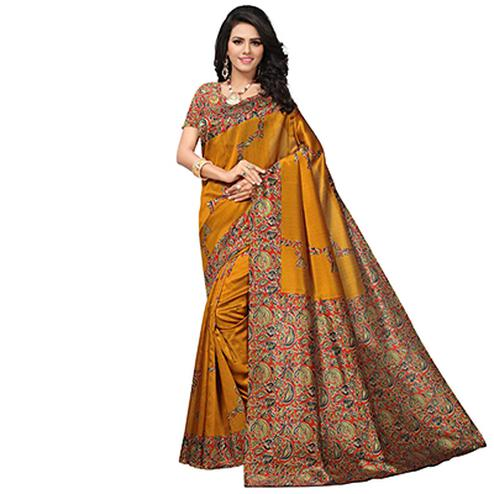 Opulent Mustard Yellow Colored Festive Wear Printed Banglori Silk Saree