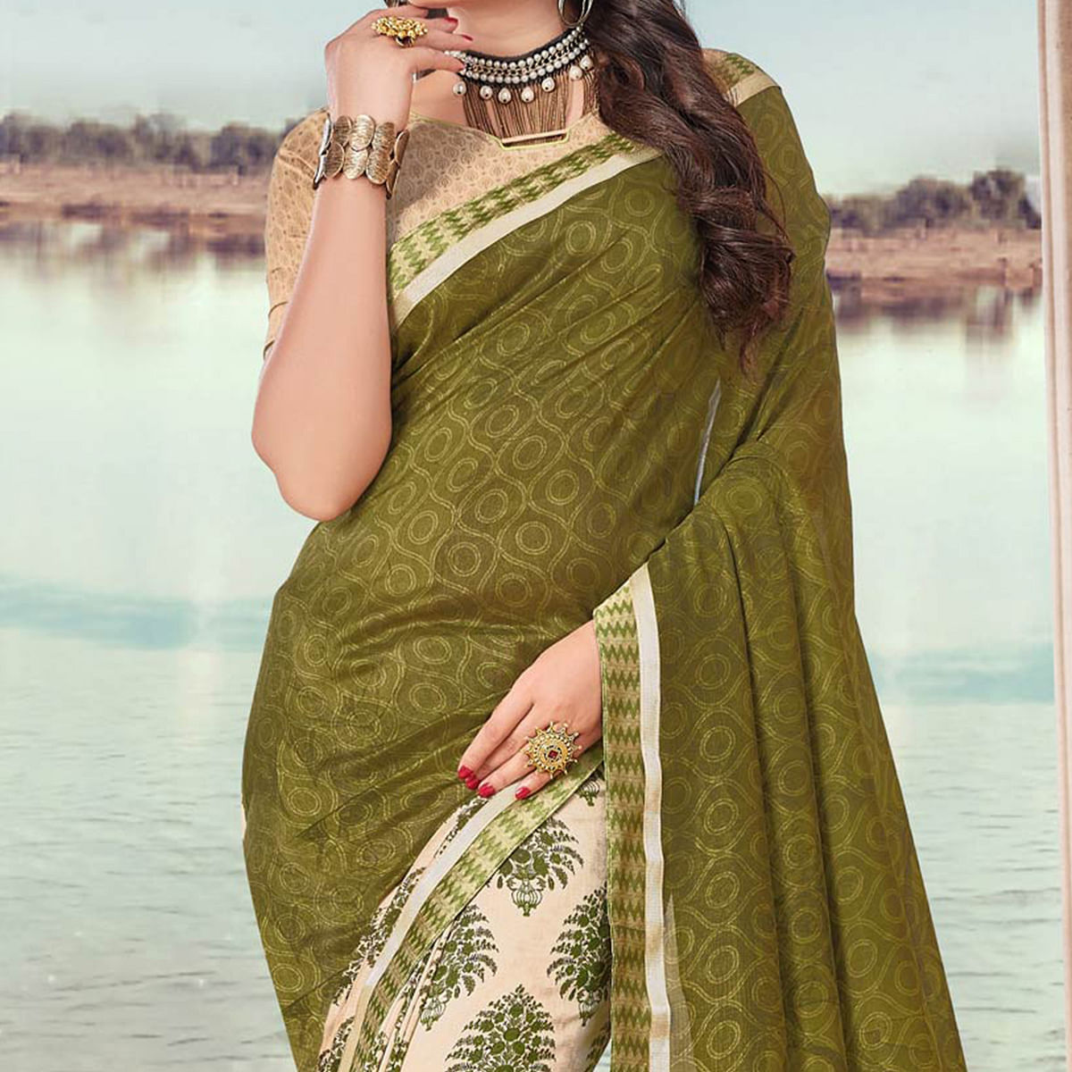 Green Art Silk Digital Printed Fancy Saree