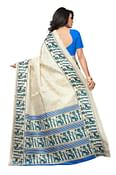 Awesome Off White - Blue Colored Festive Wear Printed Khadi Silk Saree
