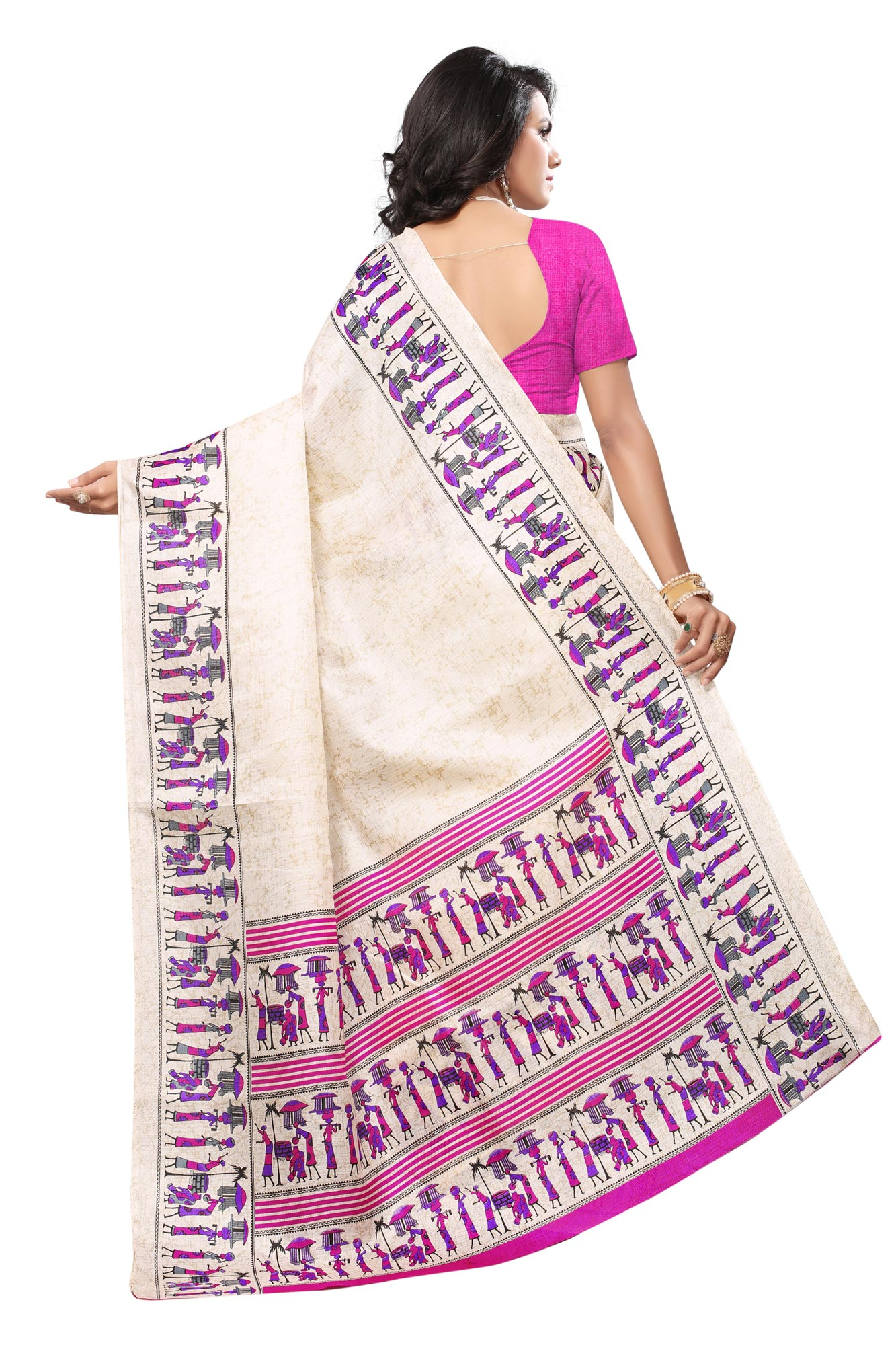 Snazzy Off White - Pink Colored Festive Wear Printed Khadi Silk Saree