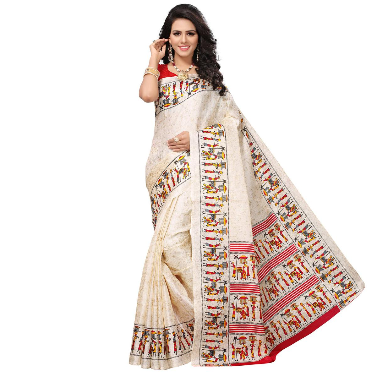 Capricious Off White - Red Colored Festive Wear Printed Khadi Silk Saree