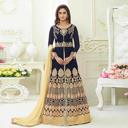 Gleaming Blue Colored Designer Embroidered Party Wear Georgette Lehenga Kameez
