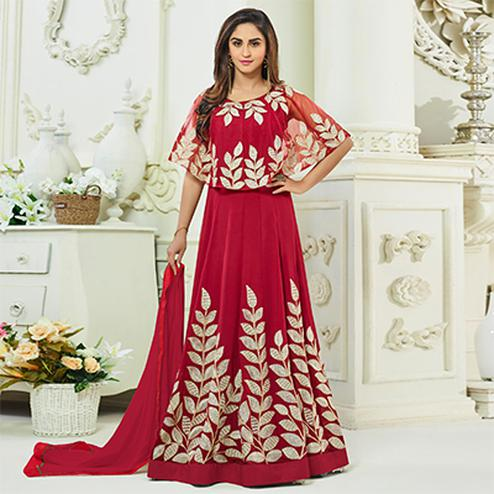 Innovative Red Colored Designer Embroidered Party Wear Georgette Anarkali Suit