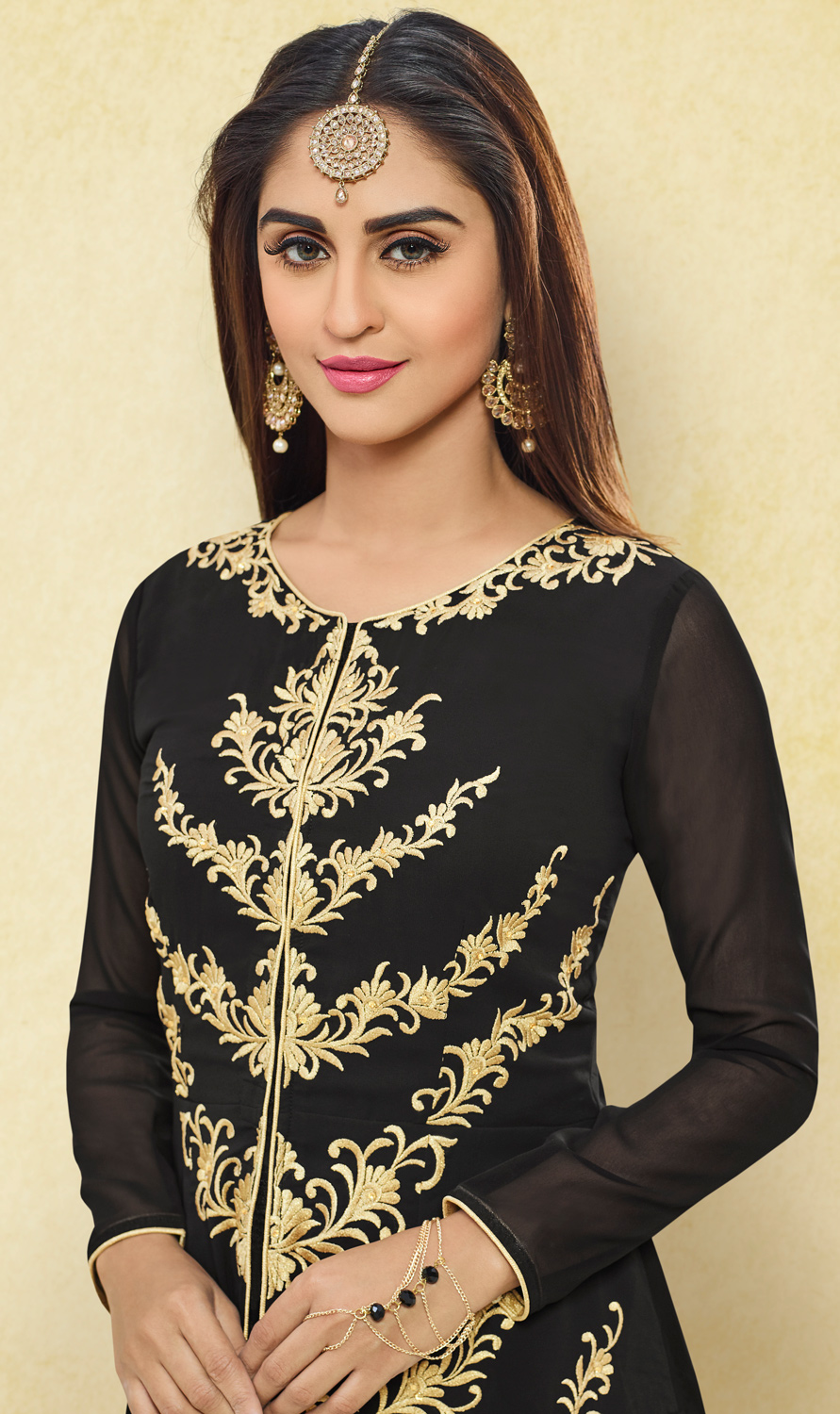 Flattering Black Colored Designer Embroidered Party Wear Georgette Lehenga Kameez