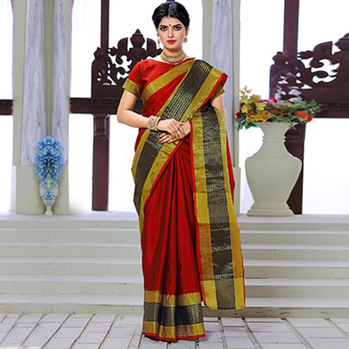 Red Festive Wear Weaving Work Silk Saree