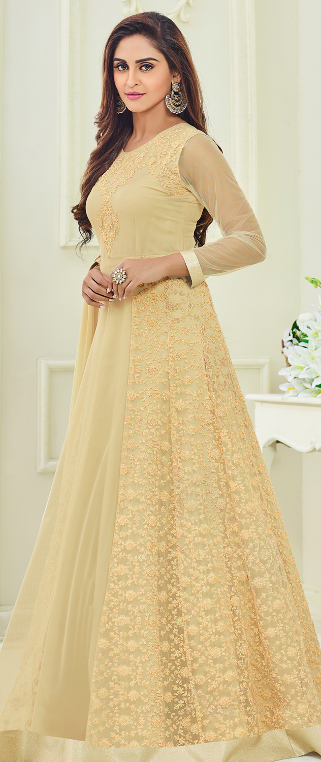 Radiant Cream Colored Designer Embroidered Party Wear Georgette Anarkali Suit