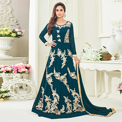 Alluring Teal Blue Colored Designer Embroidered Party Wear Georgette Anarkali Suit