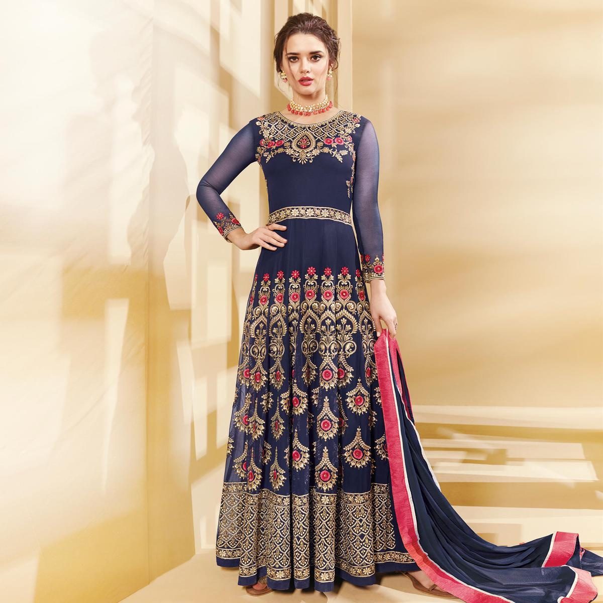 d9859b5b6b366 Buy Mesmerising Blue Colored Designer Embroidered Party Wear Georgette Anarkali  Suit for womens online India, Best Prices, Reviews - Peachmode