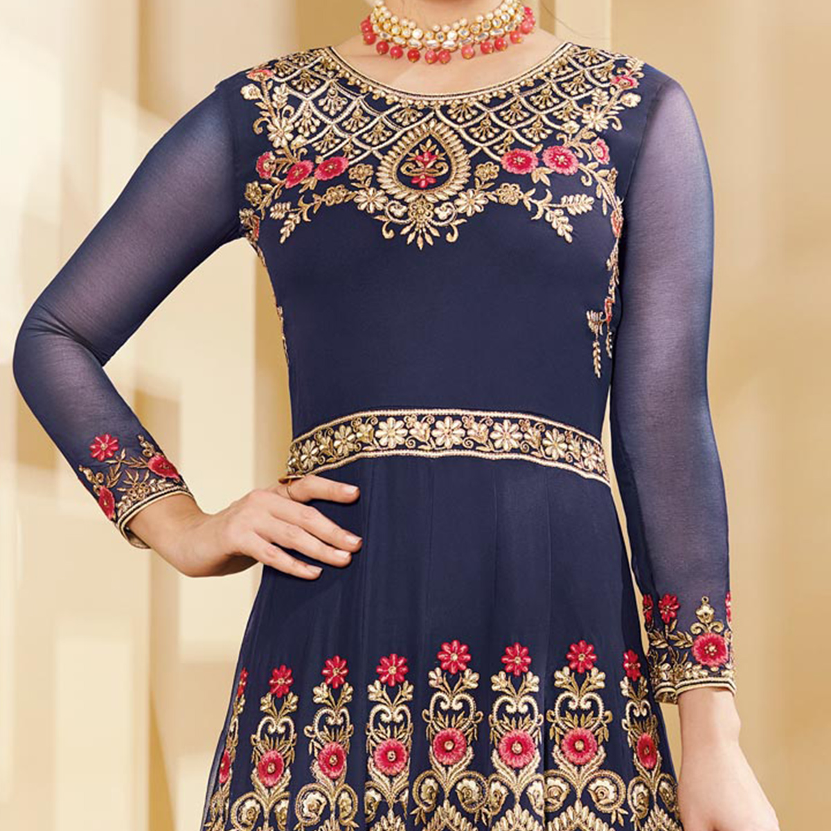 Mesmerising Blue Colored Designer Embroidered Party Wear Georgette Anarkali Suit