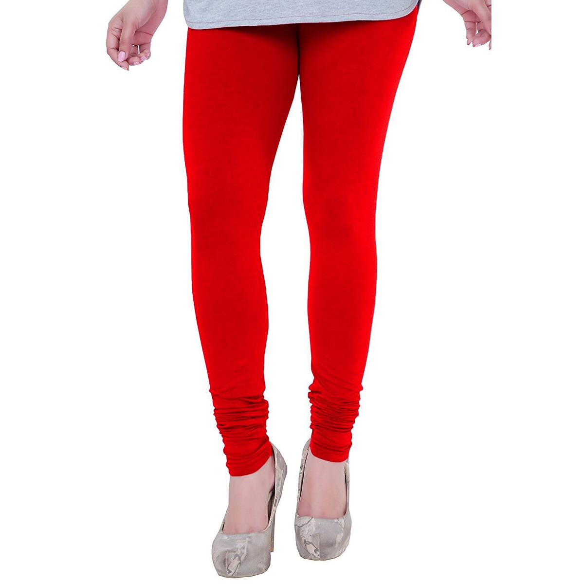 Glowing Red Colored Casual Wear Churidar Leggings