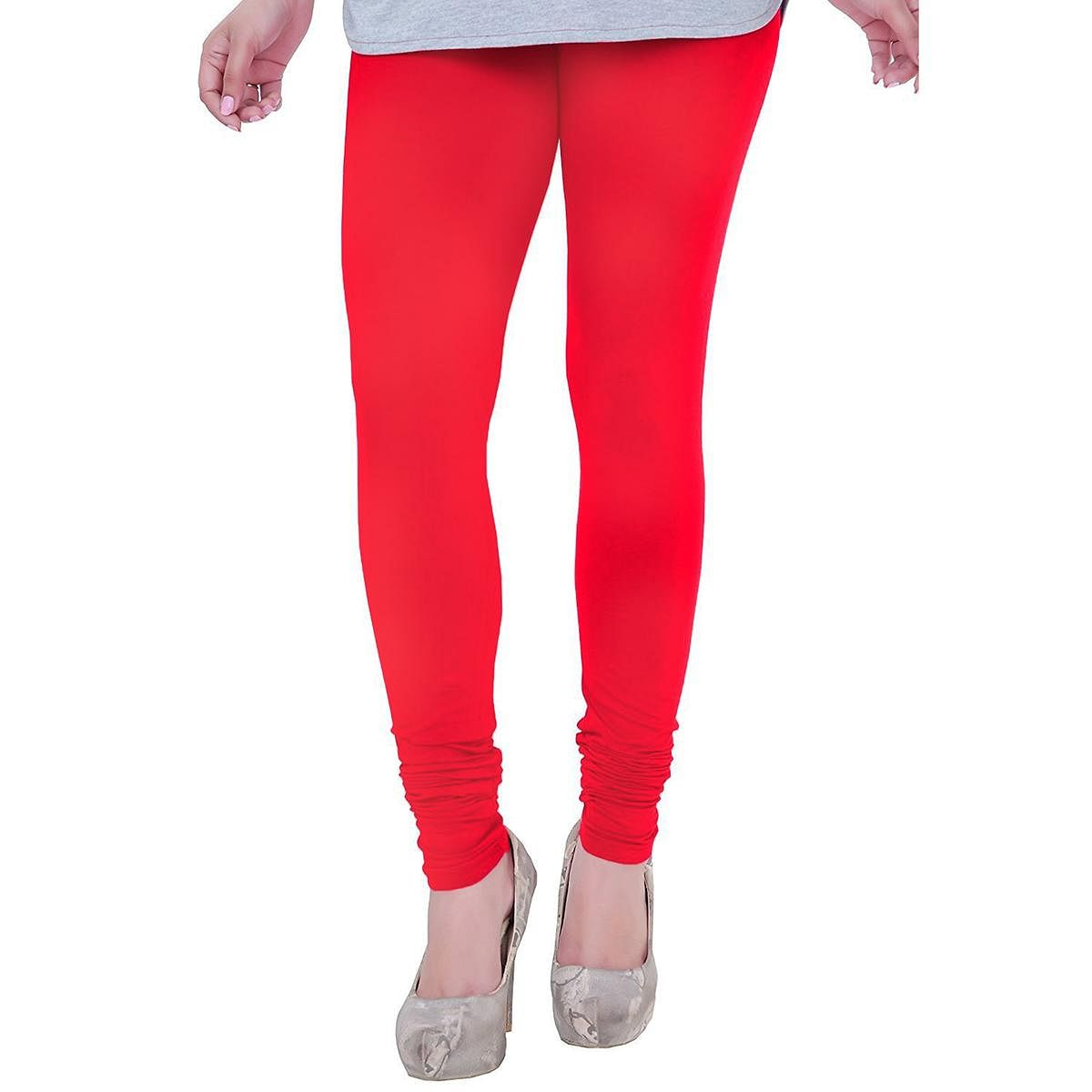 Attractive Warm Red Colored Casual Wear Churidar Leggings