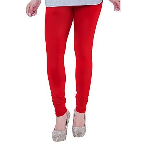 Eye-Catching Tomato Red Colored Casual Wear Churidar Leggings
