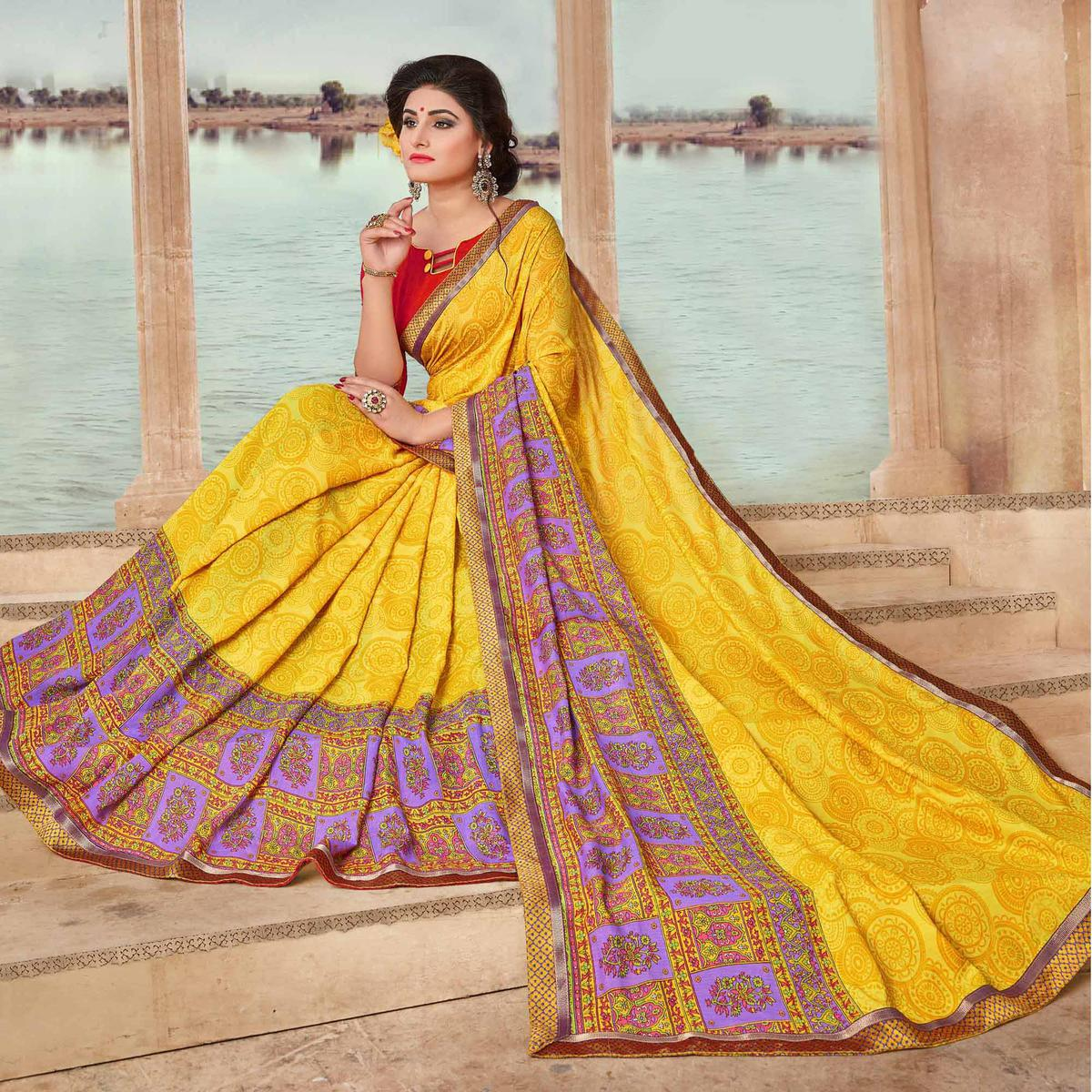 Yellow Art Silk Digital Printed Fancy Saree