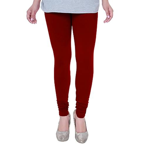 Flaunt Blood Red Colored Casual Wear Churidar Leggings