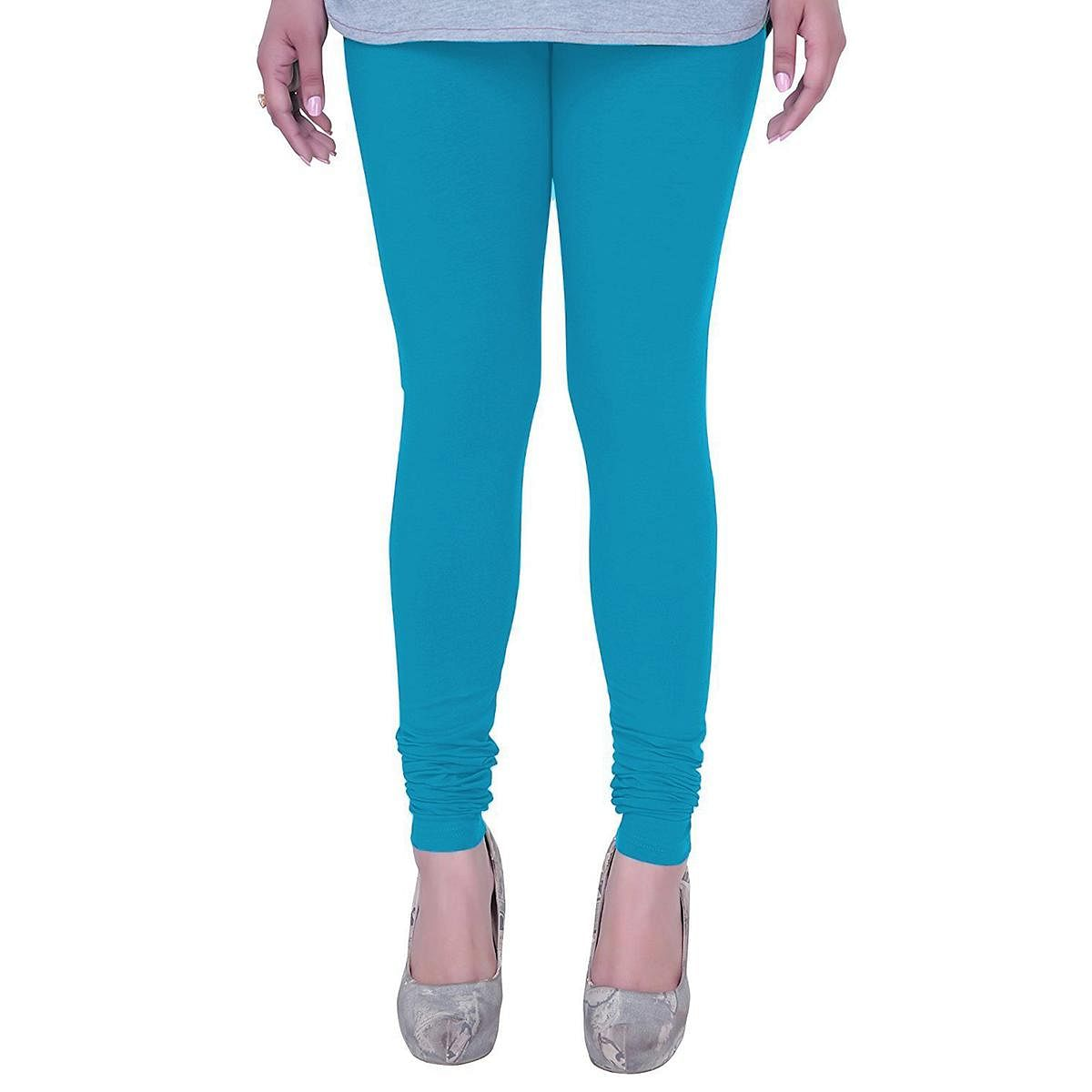 Gorgeous Sky Blue Colored Casual Wear Churidar Leggings