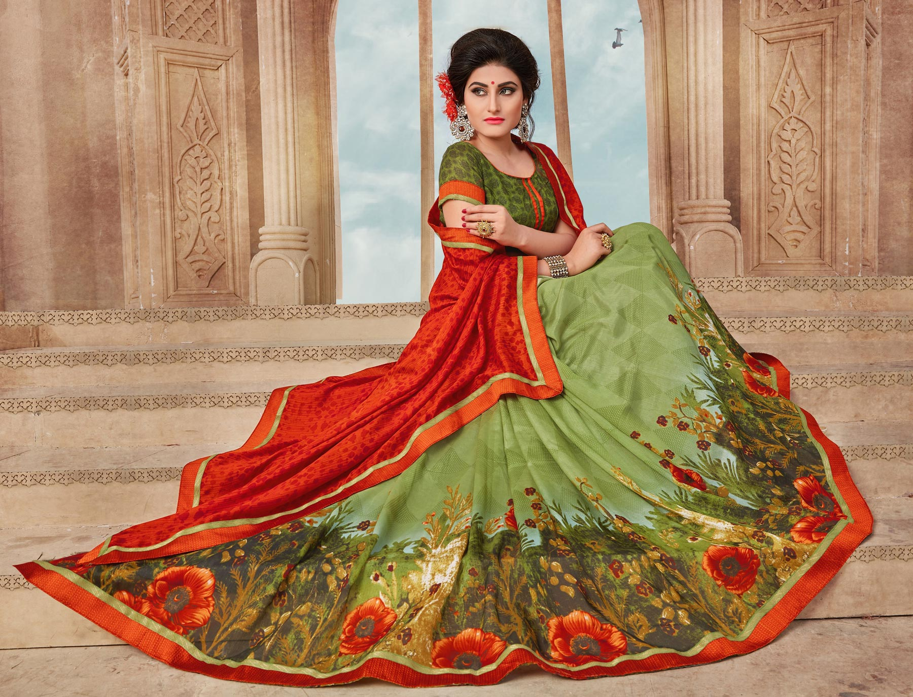 Orange And Green Art Silk Digital Printed Fancy Saree